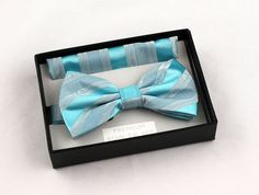 New Aqua Blue Mens Bow Tie + Hanky Hankie Tuxedo Wedding Fashion Bowtie Set #VenettoCollection #BowTie