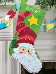 Felt Embroidery Kit ~ Dimensions Santa Claus Christmas XMAS Stocking #72-08186 #DimensionsInc