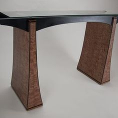 Glass Top Hall Table With Veneered Base by James Oleson