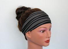 BLACK and GREY ribbed crossfit headband yoga headband by byRoxi
