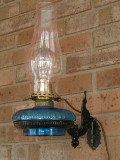 Antique Finger Oil Lamp with Cast Iron Wall Mount and Reflector by ...