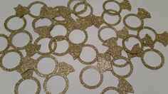 50 x Gold glitter engagement ring confetti. Engagement wedding party table decor confetti. Gold engagement ring or bridal shower confetti by Garlandsandgifts on Etsy