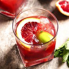 Blood Orange Bourbon: Mint Leaves, Bourbon Whiskey, Blood Orange Juice, Maple Syrup, Angostura Bitters, Lime Wedges Blood Orange Slice.