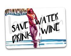 #fridgemagnets #magnets WINE Fridge Magnet. Save Water Drink Wine. by BetterMagnets