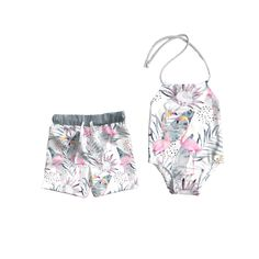YT Baby Family Matching Swimwear Mommy and Me Cake Print One Piece Padding Bikini Father and Son Beachwear Outfits