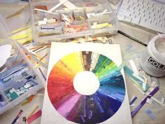 Rainbow Circle Collage Made To Order Wood Block 8x10x1