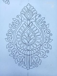 Indian Embroidery Designs, Hand Embroidery Design Patterns, Hand Embroidery Tutorial, Doodle Patterns, Hand Embroidery Stitches, Machine Embroidery Designs, Modern Floral Wallpaper, Design Art Drawing, Mehndi Art Designs