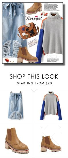 """""""ROSEGAL"""" by jelena-880 ❤ liked on Polyvore featuring denimskirt, polyvoreeditorial and rosegal"""