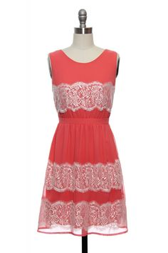 Love Me in Lace Dress in Coral | Vintage, Retro, Indie Style Dresses