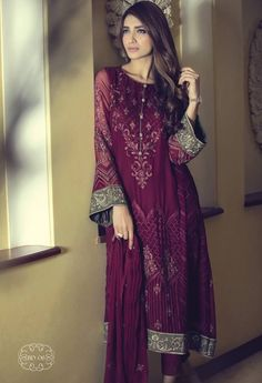 Buy Magenta Embroidered Chinese Chiffon A-Line Dress by Maria B. Pakistani Outfits, Indian Outfits, Desi Clothes, Indian Clothes, Pakistan Fashion, Pakistani Designers, Chiffon Dress, Silk Chiffon, Chiffon Shirt