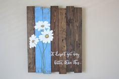 Reclaimed wood wall art  Pallet wall art  Daisy by TinHatDesigns