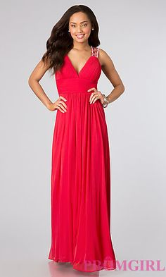 Long Sleeveless Open Back Dress by Betsy and Adam at PromGirl.com