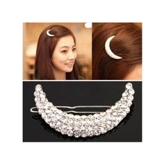 1Pc Stylish Moon Rhinestone Hairpin Silver Moon Crystal Hairpin Decoration * Continue to the product at the image link.