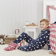 In super-cosy heavy interlock cotton, these pyjamas will feel like a hug on Wintry days. Featuring the all-over snowbear motif from our baby range on the snug elasticated bottoms, and a little appliqué in the middle of the top. Our Baby, Baby Boy, Little White Company, Toddler Boy Fashion, Pyjamas, Cosy, Snug, Bean Bag Chair, Kids Rugs