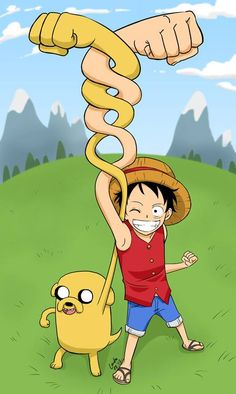 One of my favorite cross overs, Adventure Time Jake and One Piece Luffy