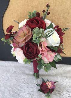Wedding Bouquet, Bridal Bouquet, Blush & Burgundy Wedding Flowers, Silk Floral Bouquet, Blush and Bu