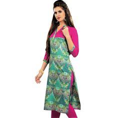 Beautiful Green Pink Printed Rayon Tunic Kurti Top -Size 40  #SalwarKameez #ShopNow #SalwarSuit #NewStuff #FreeShipping #LowestPrice #DressMaterial #Designer