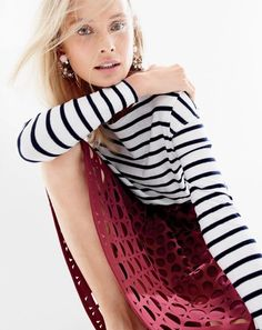 J.Crew women's deck striped tee, perforated eyelet A-line skirt and cirque earrings.