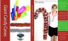 DIY giant candy canes instructions. Easy decoration for Santa's Grotto.