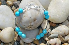 Turquoise Howlite and Sterling Silver bracelet  Sterling Clasp. Handmade howlite bracelet. Semiprecious howlite bracelet, turquoise bracelet - pinned by pin4etsy.com