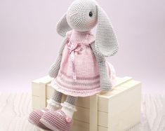 Amigurumi crochet DOLL - Sweet cuddly bunny rabbit doll in pink dress with bow