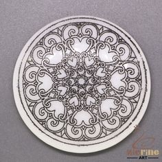 BLACK PAINTING MANDALA PENDANT WHITE STONE GEMSTONE JEWELRY ACCESSORY ZL6000028 #ZL #Pendant