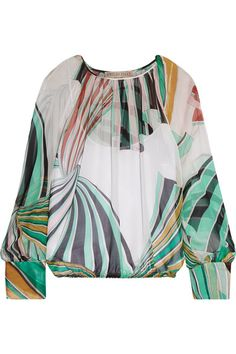 Emilio Pucci - Printed Silk-chiffon Blouse - Light green - IT44