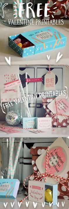 Come and get these free printable sheets to make your Valentine's Day super lovely this year! Lots of fun bits to print out at home, gift tags, straw flags, cute matchboxes, bottle tags and more - get your craft on!   Perfect to show your love to somebody special this Valentines :)