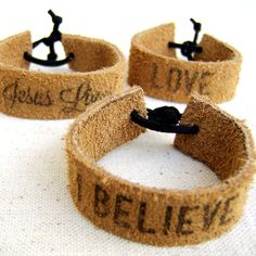 Words or Names on Leather Cuffs with a Woodburner