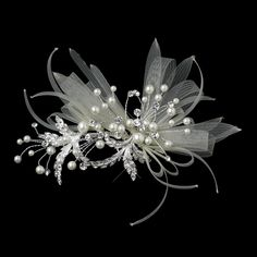 Pearl and Crystal Ribbon Wedding Hair Clip - a feminine headpiece for your wedding!