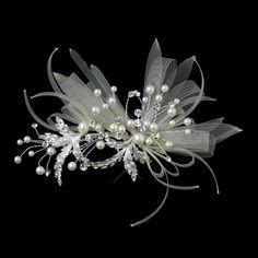 Pearl and Crystal Ribbon Wedding Hair Clip - a feminine headpiece for your wedding!