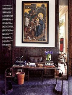 Valentino's home office in London home designed by Jacques Grange  Love the carpet color and art.
