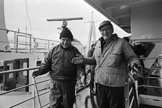 The President of Finland Urho Kekkonen with the Premier of the Soviet Union Alexei Kosygin on the deck of an icebreaker in Finland 1968