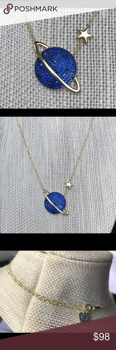"""NWT GAB + COS Celestial Moon Planet Star Necklace Brand New from Nordstrom GAB+COS Gold Over Sterling Silver 926 Moon Planet Celestial Necklace. 14"""" With 3.5"""" Extender SOLD OUT. Last one! Gab + Cos Jewelry Necklaces"""