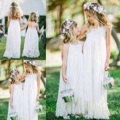 2016 Princess Full Lace Long Flower Girl Dresses A-Line Halter Backless White Lace Little Girl Kids Girl Dresses communion dress