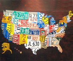 Demonstrate your patriotism and/or love for modern art with the USA license plate map. Made from actual retired license plates, count on your map to be truly unique, as different plates are used for every single piece. Hand made in the U.S. by a Michigan based artist, these works of art are the perfect combination…