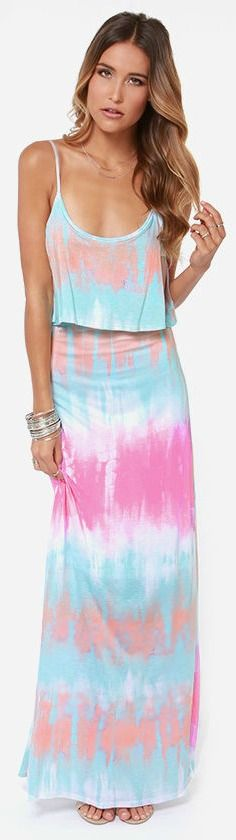 Blue, peach, pink, and ivory shape a tie-dye masterpiece down soft knit, from adjustable spaghetti straps to a maxi-length skirt. A tiered bodice promises pretty movement in the breeze. #lovelulus