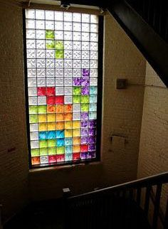 Funny pictures about Best use of glass block windows ever. Oh, and cool pics about Best use of glass block windows ever. Also, Best use of glass block windows ever. Glass Block Windows, Glass Blocks, Stained Glass Windows, Window Glass, Window Art, Sala Geek, Geeks, Geek Out, Home Design
