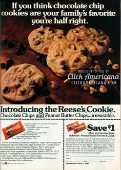Reese's cookies: Peanut butter & chocolate (1982)  Read more at http://clickamericana.com/topics/food-drink/reeses-cookies-peanut-butter-chocolate-1982 | Click Americana