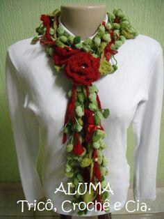 Cachecol Pompom Flor.