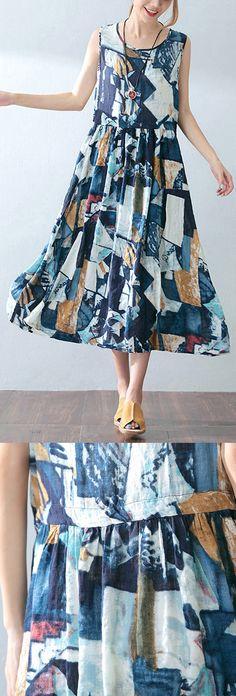 baggy blue cotton dresses oversized prints traveling dress casual sleeveless maxi dress5