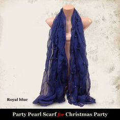 Party Pearl Scarf for Christmas Party - Royal Blue