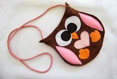felt bag for girl, owl felt,gift,children,summer, brown,handmade in italy