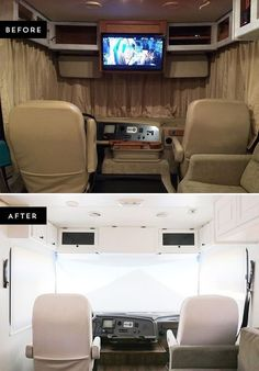 Looking to replace those bulky curtains in the front of your RV? See how easy it was for us to install new RV windshield roller shades! Camping Hacks, Rv Hacks, Rv Camping, Camping Kitchen, Camping Cooking, Camping Stuff, Outdoor Camping, Glamping, Kitchen Tent