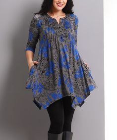 Another great find on #zulily! Charcoal Floral Notch Neck Handkerchief Tunic - Plus #zulilyfinds