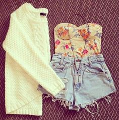 floral & high shorts