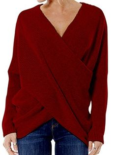 Joeoy Womens Burgundy Criss Cross Wrap Front V Neck Long Sleeve Knit Sweater JumperL * Continue to the product at the image link. (This is an affiliate link) #WomensSweatersPlusSize