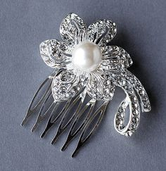 Rhinestone and Pearl Bridal Hair Comb Accessory by LXdesigns, $30.00