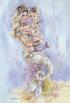 🧜‍♀️ - By: Christine Haworth Mermaid Artwork, Mermaid Drawings, Fantasy Mermaids, Mermaids And Mermen, Baby Mermaid, The Little Mermaid, Mythical Creatures, Sea Creatures, Fantasy World