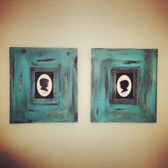 Set of 2-5x7 Uber Distressed Wood Picture Frames Greek Key Trim in Peacock Blue
